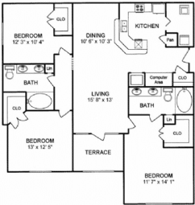 Three bedroom apartments for rent in Houston