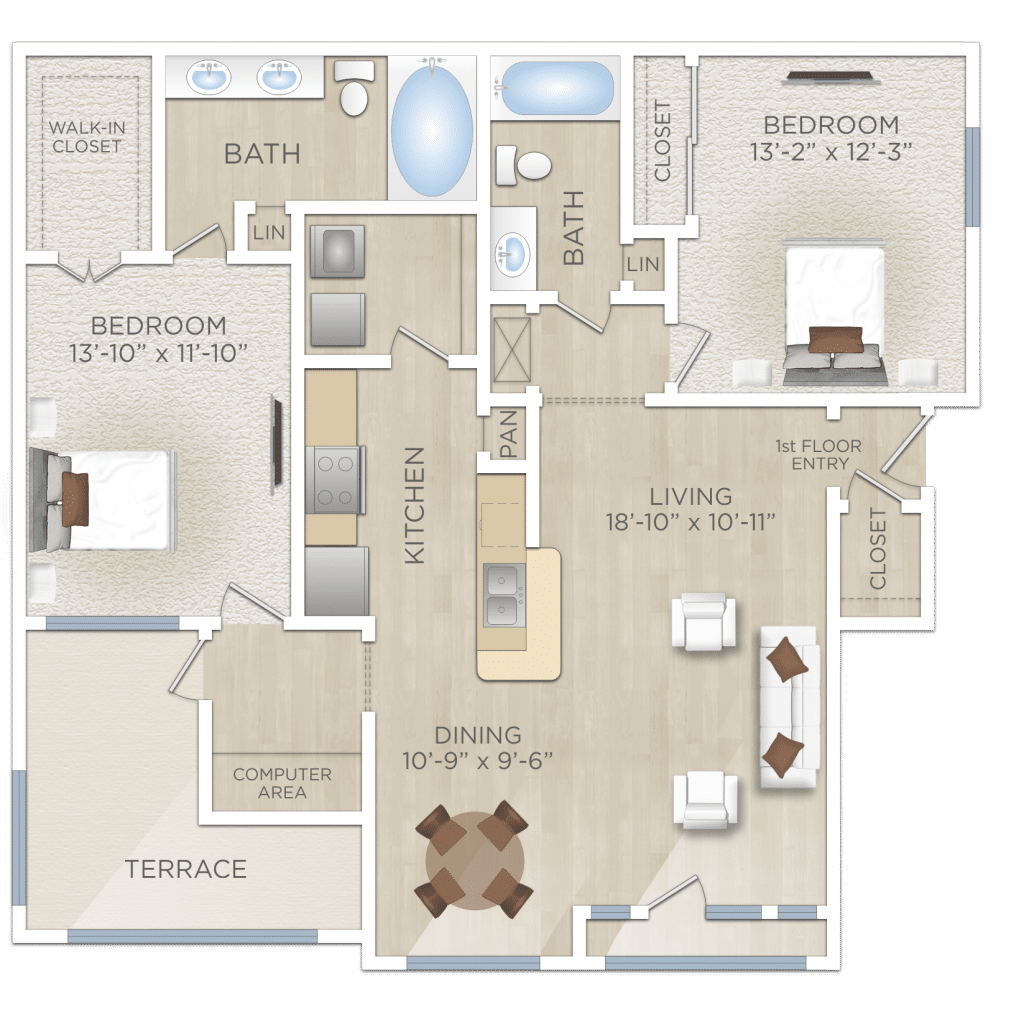 Two Bedroom Room Apartment